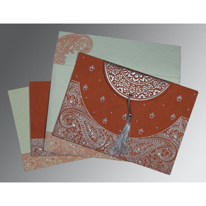 PEARL ORANGE RED HANDMADE COTTON EMBOSSED WEDDING CARD : CS-8234F - IndianWeddingCards