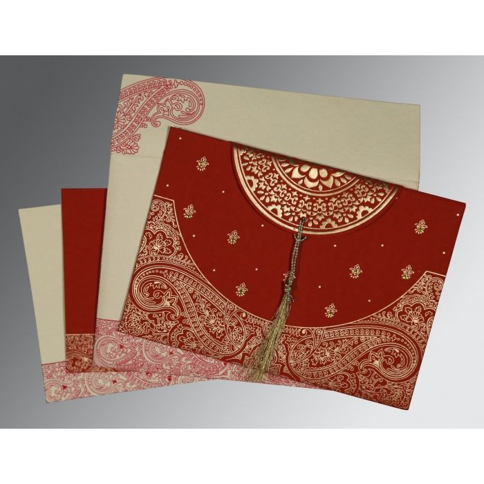 FALU RED HANDMADE COTTON EMBOSSED WEDDING CARD : CS-8234L - IndianWeddingCards