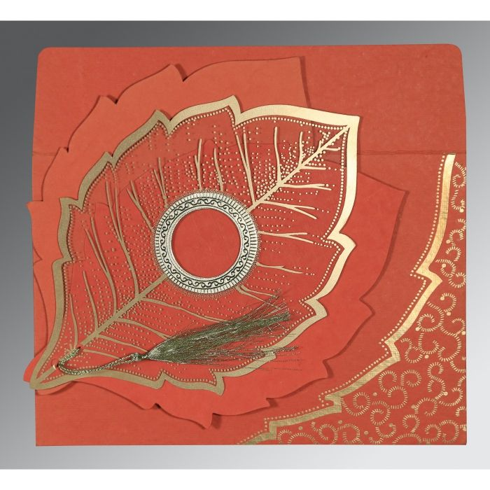 BRICK RED HANDMADE COTTON FLORAL THEMED - FOIL STAMPED WEDDING CARD : CS-8219I - IndianWeddingCards