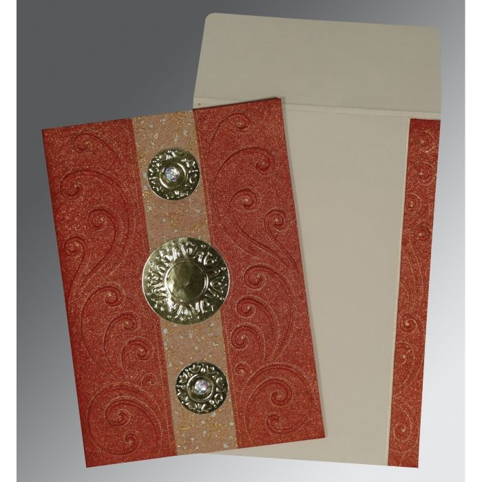 BRICK RED HANDMADE SHIMMER BOX THEMED - EMBOSSED WEDDING CARD : CSO-1389 - IndianWeddingCards