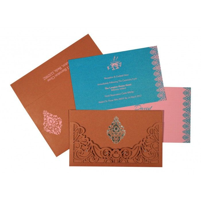BRICK RED MATTE DAMASK THEMED - LASER CUT WEDDING CARD : CS-8262F - IndianWeddingCards