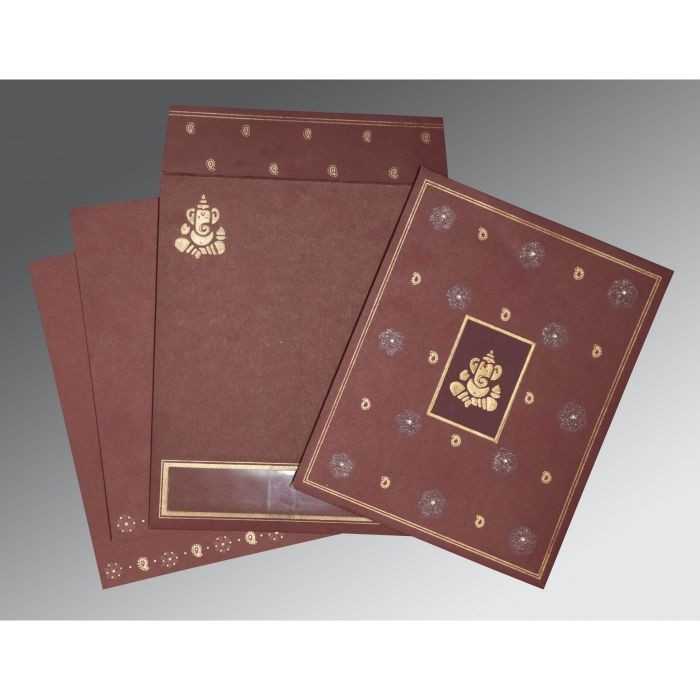 DARK RED MATTE EMBOSSED WEDDING CARD : IN-2208 - 123WeddingCards