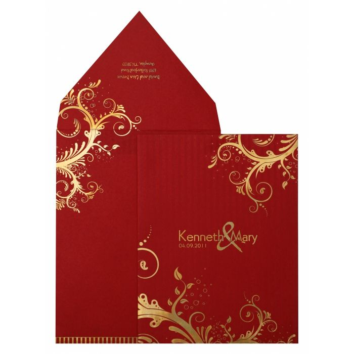 RED MATTE FLORAL THEMED - SCREEN PRINTED WEDDING INVITATION : I-833 - 123WeddingCards