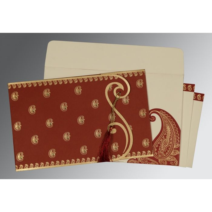 BRICK RED MATTE PAISLEY THEMED - SCREEN PRINTED WEDDING INVITATION : CD-8252A - IndianWeddingCards