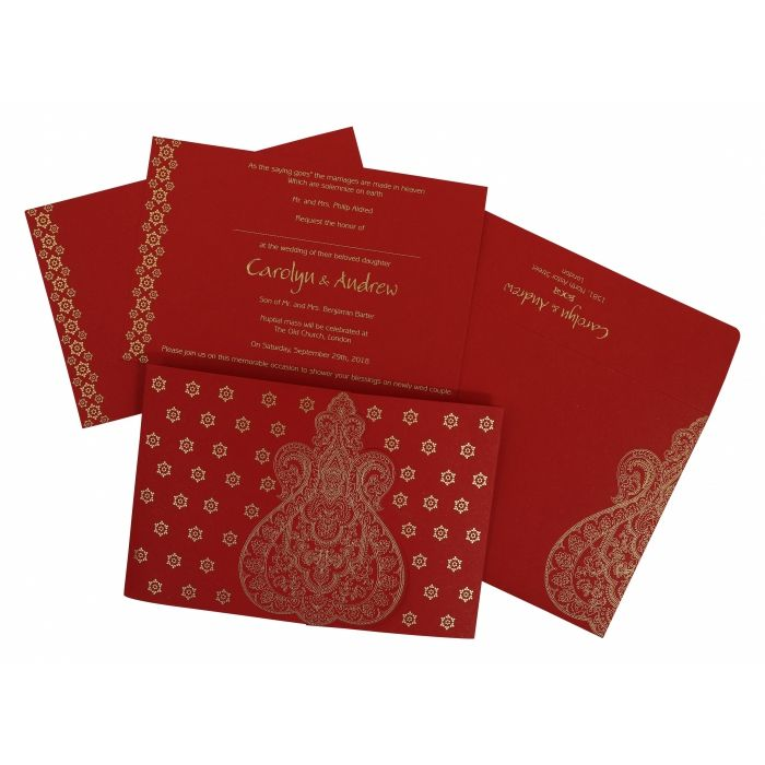 RUBY PAISLEY THEMED - SCREEN PRINTED WEDDING INVITATION : CW-801B - IndianWeddingCards
