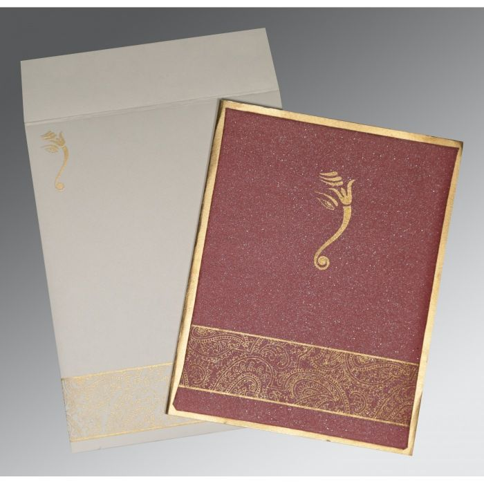 LIGHT CLARET MATTE BOX THEMED - SCREEN PRINTED WEDDING CARD : CW-2170 - IndianWeddingCards
