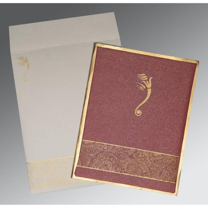 LIGHT CLARET MATTE BOX THEMED - SCREEN PRINTED WEDDING CARD : W-2170 - 123WeddingCards