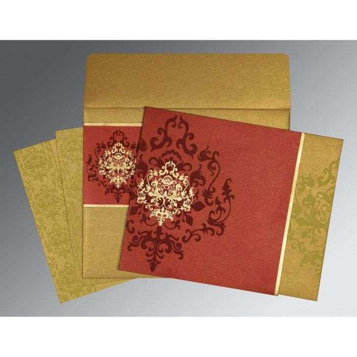 WINE RED GOLD SHIMMERY DAMASK THEMED - SCREEN PRINTED WEDDING CARD : CD-8253B - IndianWeddingCards