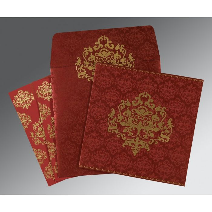 WINE RED SHIMMERY DAMASK THEMED - SCREEN PRINTED WEDDING CARD : CI-8254B - IndianWeddingCards