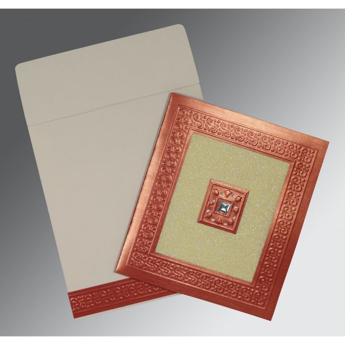 CREAM RED SHIMMERY EMBOSSED WEDDING INVITATION : D-1411 - 123WeddingCards