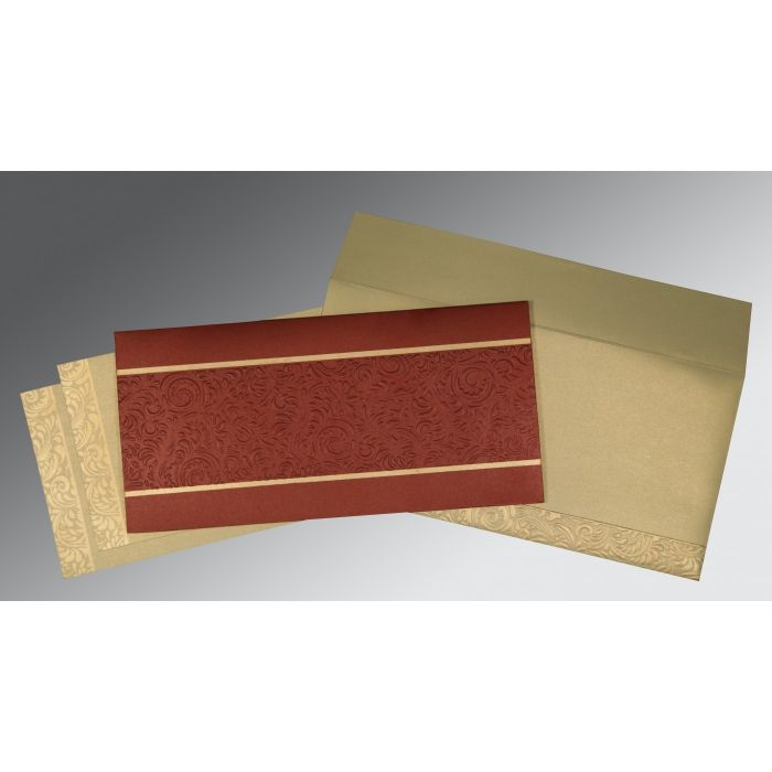 BRICK RED SHIMMERY EMBOSSED WEDDING INVITATION : CI-1471 - IndianWeddingCards