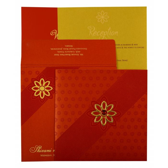 RED SHIMMERY FLORAL THEMED - FOIL STAMPED WEDDING INVITATION : C-1882 - 123WeddingCards