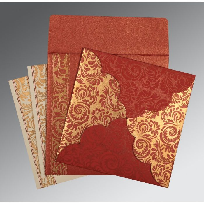 MAXICON RED SHIMMERY FLORAL THEMED - SCREEN PRINTED WEDDING CARD : CD-8235C - IndianWeddingCards