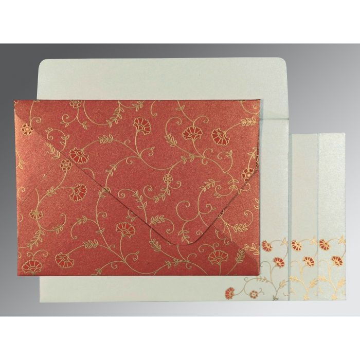 RED SHIMMERY FLORAL THEMED - SCREEN PRINTED WEDDING INVITATION : CW-8248A - IndianWeddingCards