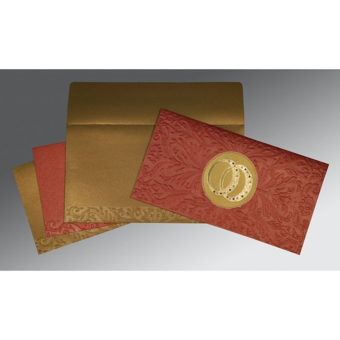 BRICK RED COPPER SHIMMERY FOIL STAMPED WEDDING CARD : CG-1465 - IndianWeddingCards
