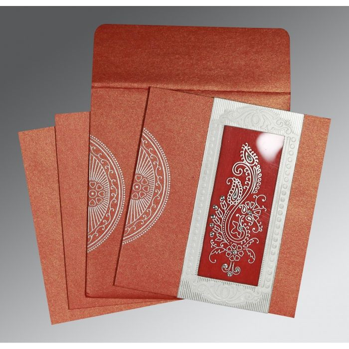 MOJO SHIMMERY PAISLEY THEMED - FOIL STAMPED WEDDING INVITATION : C-8230C - 123WeddingCards