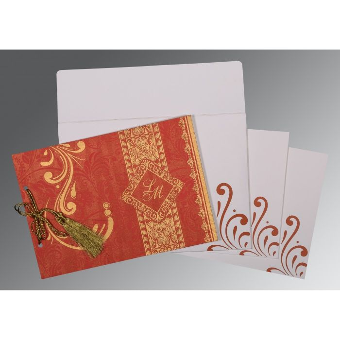 BURNT ORANGE SHIMMERY SCREEN PRINTED WEDDING CARD : CW-8223C - IndianWeddingCards