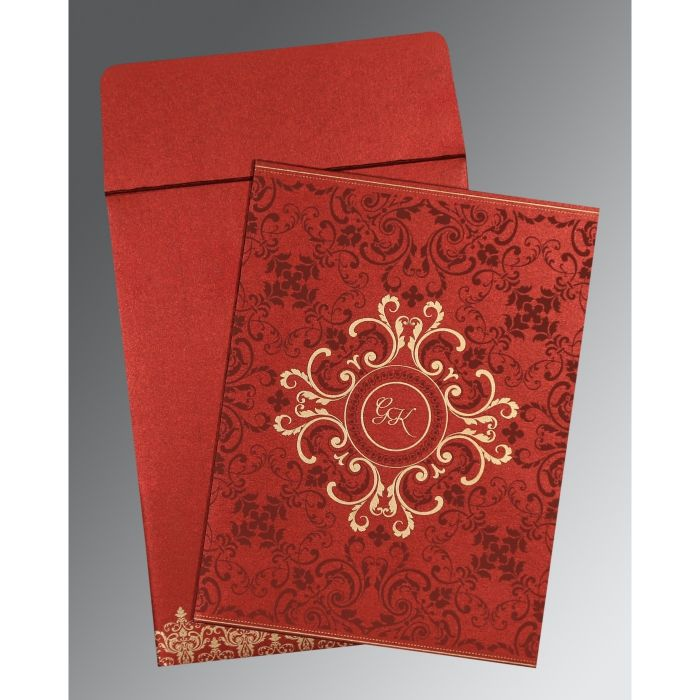 WINE RED SHIMMERY SCREEN PRINTED WEDDING CARD : CW-8244E - IndianWeddingCards