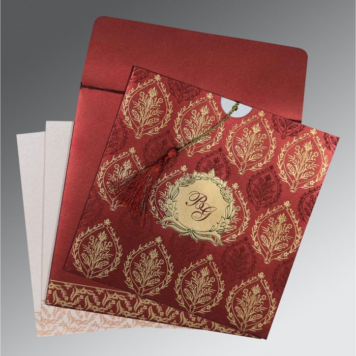 WINE RED SHIMMERY UNIQUE THEMED - FOIL STAMPED WEDDING CARD : CW-8249L - IndianWeddingCards