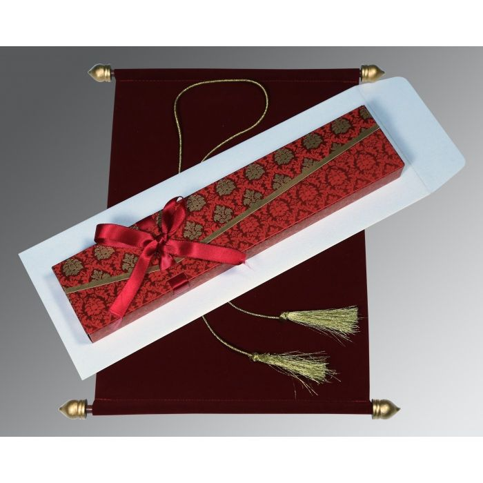 BURGUNDY VELVET WEDDING INVITATION : CSC-5016F - IndianWeddingCards