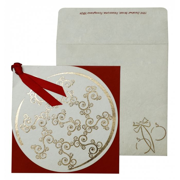 WHITE RED HANDMADE COTTON FLORAL THEMED - FOIL STAMPED HOLIDAY CARDS : H-853 - 123WeddingCards