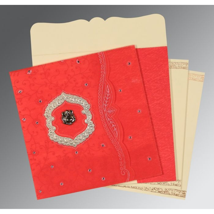 SCARLET SHIMMERY FLORAL THEMED - EMBOSSED WEDDING CARD : IN-8209I - 123WeddingCards