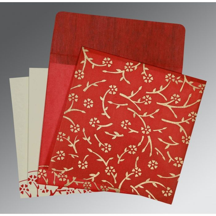 RUBY WOOLY FLORAL THEMED - SCREEN PRINTED WEDDING INVITATION : C-RU-8216L - IndianWeddingCards