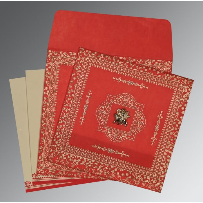 RED WOOLY GLITTER WEDDING CARD : CG-8205R - IndianWeddingCards