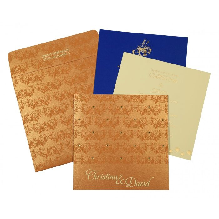 COPPER SHIMMERY BUTTERFLY THEMED - SCREEN PRINTED WEDDING CARD : CD-8258F - IndianWeddingCards