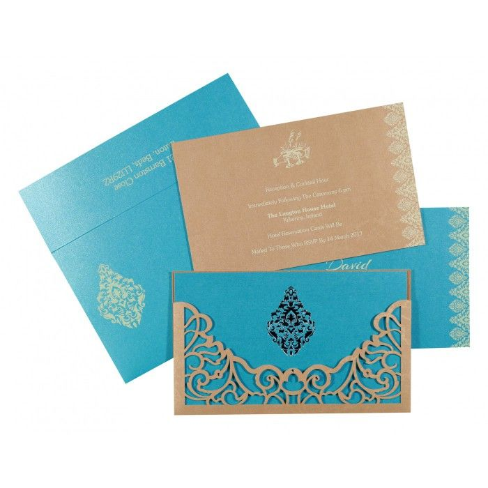 MODERATE ORANGE SHIMMERY DAMASK THEMED - LASER CUT WEDDING CARD : C-8262C - 123WeddingCards