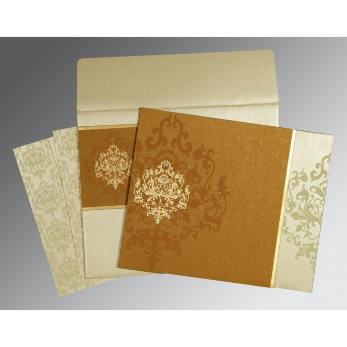 MUSTARD YELLOW SHIMMERY DAMASK THEMED - SCREEN PRINTED WEDDING CARD : CI-8253G - IndianWeddingCards
