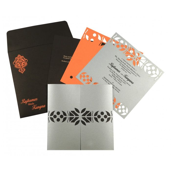 SILVER SHIMMERY EMBOSSED WEDDING INVITATION : CI-8260E - IndianWeddingCards