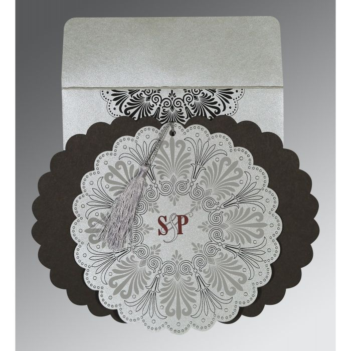 SILVER SHIMMERY FLORAL THEMED - EMBOSSED WEDDING CARD : CW-8238A - IndianWeddingCards