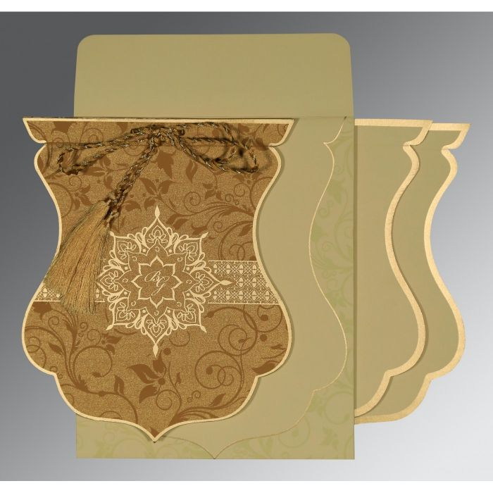 COPPER SHIMMERY FLORAL THEMED - SCREEN PRINTED WEDDING CARD : CRU-8229O - IndianWeddingCards