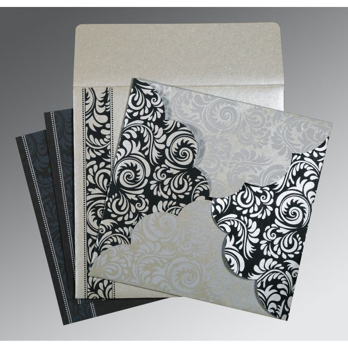 SILVER SHIMMERY FLORAL THEMED - SCREEN PRINTED WEDDING CARD : CSO-8235B - IndianWeddingCards