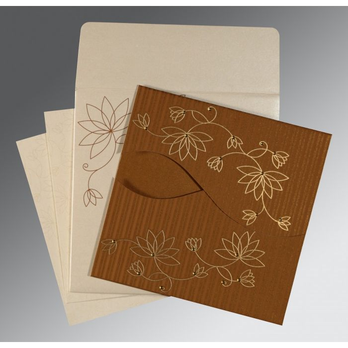 COPPER SHIMMERY FLORAL THEMED - SCREEN PRINTED WEDDING INVITATION : CW-8251M - IndianWeddingCards