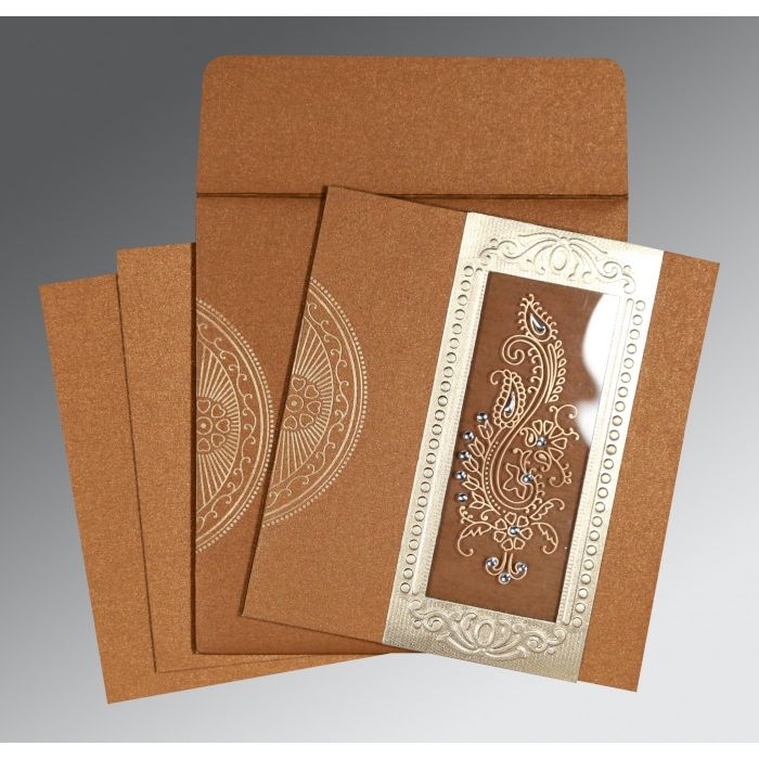 COPPER SHIMMERY PAISLEY THEMED - FOIL STAMPED WEDDING INVITATION : CRU-8230Q - IndianWeddingCards