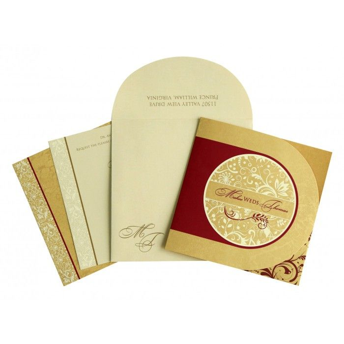 GOLD SHIMMERY PAISLEY THEMED - SCREEN PRINTED WEDDING CARD : CD-8264B - IndianWeddingCards