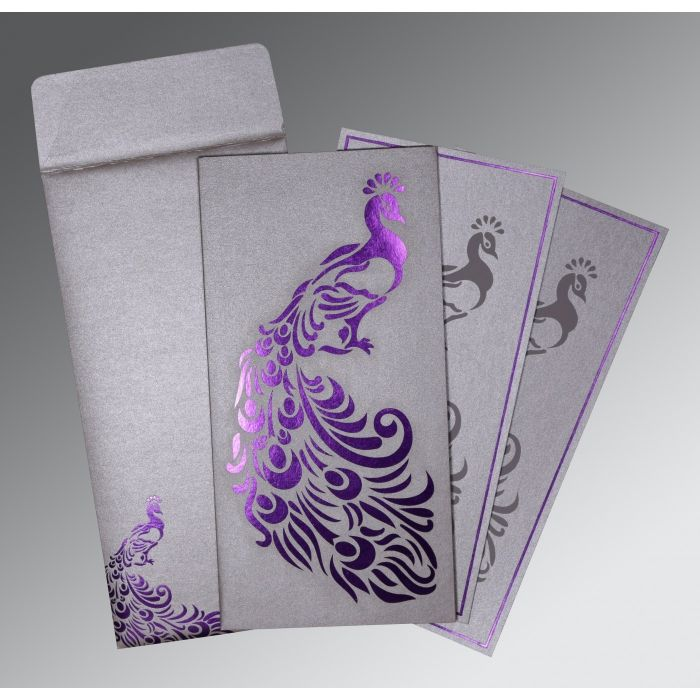 SILVER SHIMMERY PEACOCK THEMED - LASER CUT WEDDING INVITATION : CS-8255C - IndianWeddingCards