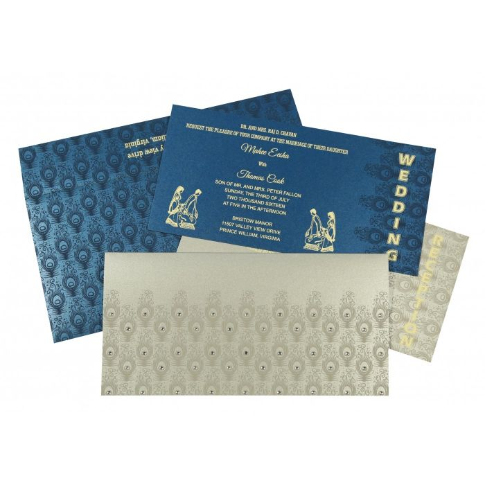 SILVER SHIMMERY PEACOCK THEMED - SCREEN PRINTED WEDDING INVITATION : C-G-8256H - IndianWeddingCards