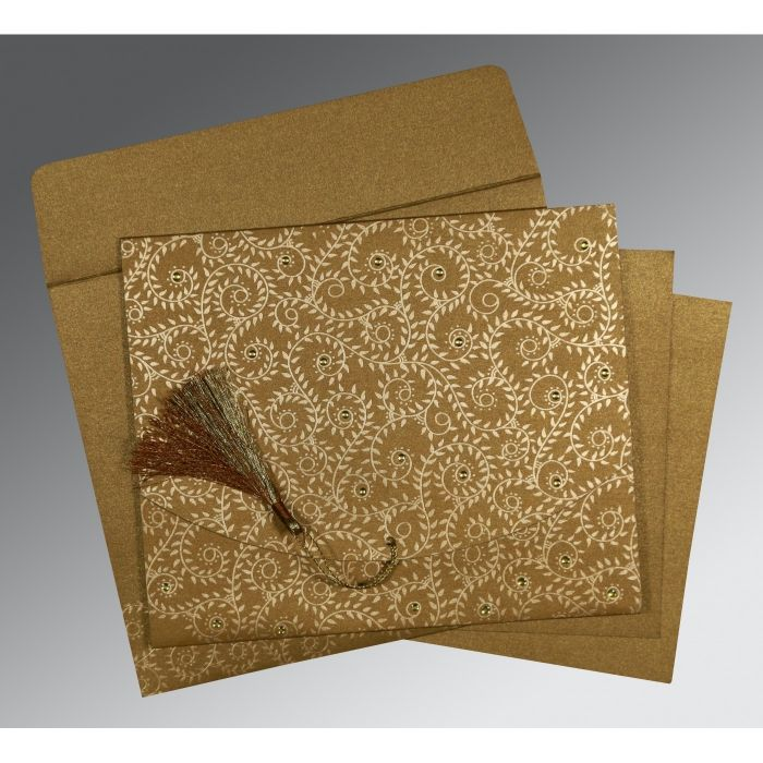 SATIN GOLD SHIMMERY SCREEN PRINTED WEDDING INVITATION : CG-8217C - IndianWeddingCards