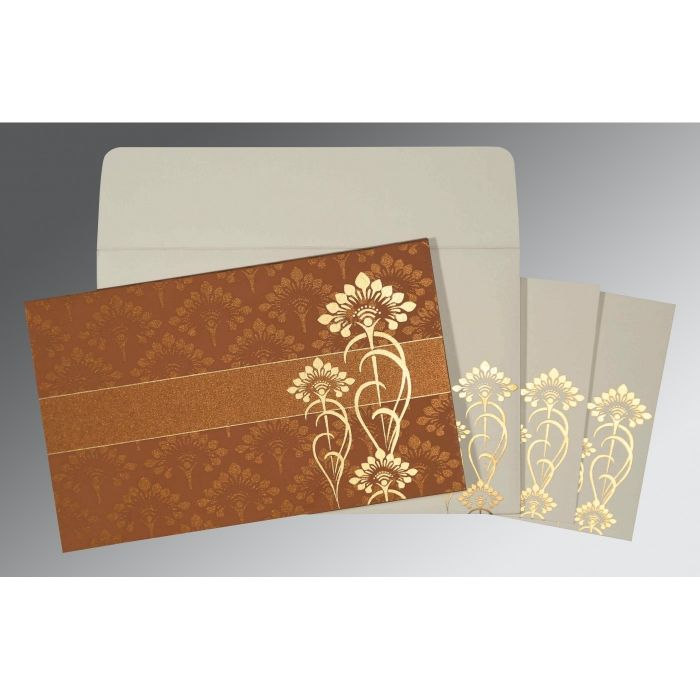 COPPER SHIMMERY SCREEN PRINTED WEDDING CARD : CRU-8239H - IndianWeddingCards