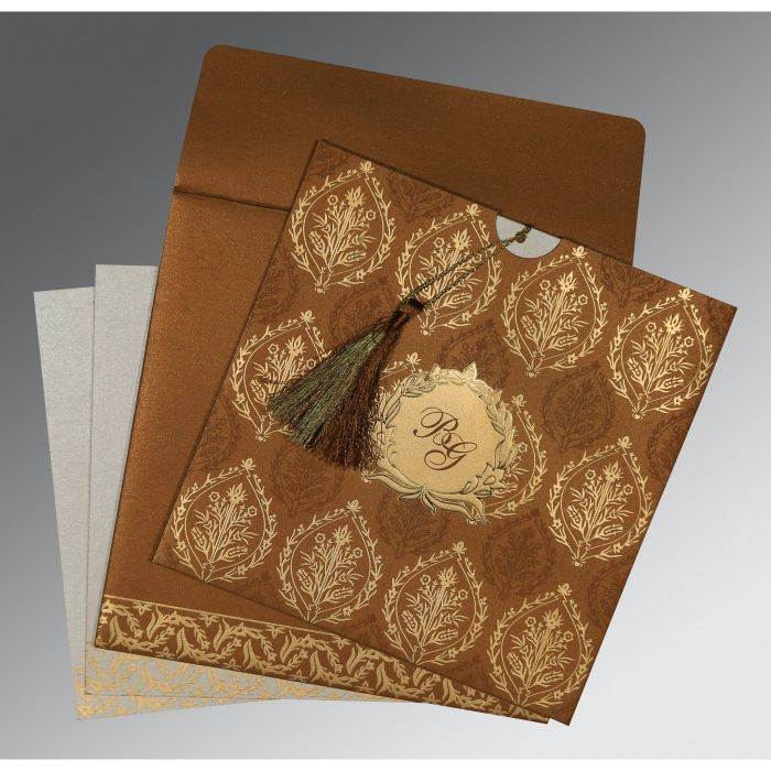 COPPER SHIMMERY UNIQUE THEMED - FOIL STAMPED WEDDING CARD : CW-8249F - IndianWeddingCards