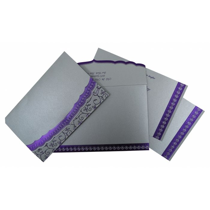 SILVER SHIMMERY FOIL STAMPED WEDDING INVITATION : CSO-806A - IndianWeddingCards