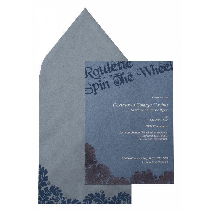 SMOKE BLUE SHIMMERY PAISLEY THEMED - SCREEN PRINTED PARTY CARDS : CPY-890 - IndianWeddingCards