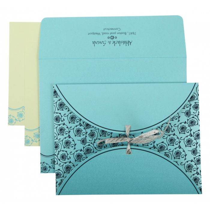 TURQUOISE SHIMMERY BUTTERFLY THEMED - SCREEN PRINTED WEDDING INVITATION : SO-821B - 123WeddingCards