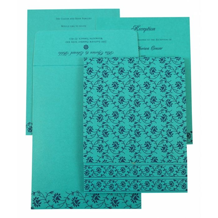 TURQUOISE SHIMMERY FLORAL THEMED - SCREEN PRINTED WEDDING INVITATION : CG-822C - IndianWeddingCards