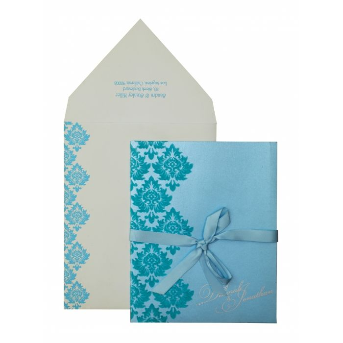 TURQUOISE SHIMMERY PAISLEY THEMED - SCREEN PRINTED WEDDING INVITATION : CI-835 - IndianWeddingCards