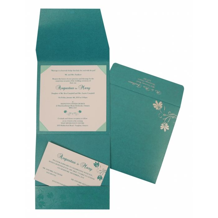 TURQUOISE SHIMMERY SCREEN PRINTED WEDDING INVITATION : SO-803A - 123WeddingCards