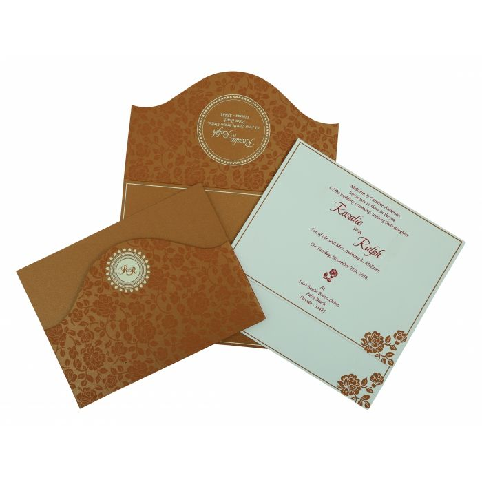 COPPER SHIMMERY FLORAL THEMED - SCREEN PRINTED WEDDING INVITATION : CW-802E - IndianWeddingCards